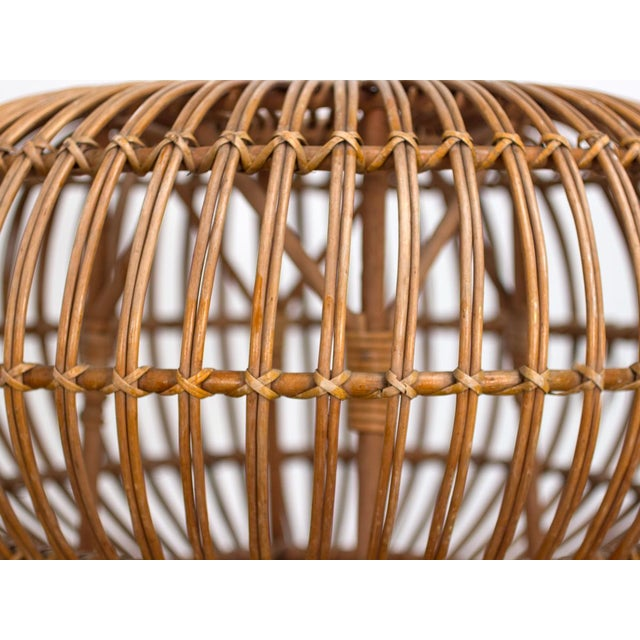 Wood Vintage Woven Rattan Ottoman by Franco Albini For Sale - Image 7 of 8