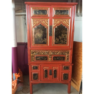 Antique Carved Asian Red Lacquer Cabinet Preview