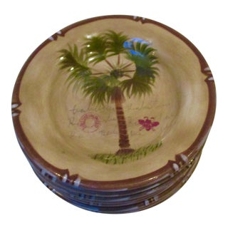 Hand Painted Bora Bora Tiki Palm Tree Tropical Salad Dessert Plates - Set of 8 For Sale