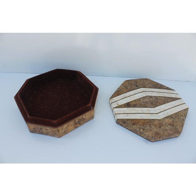 Maitland-Smith Octagonal Stone & Bone Box - Image 5 of 8