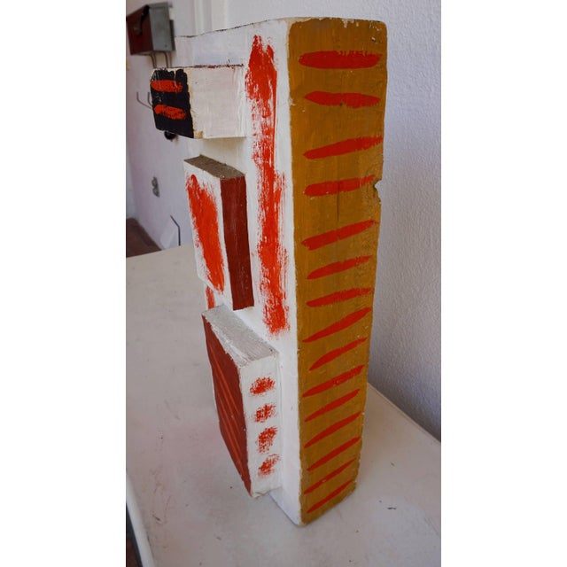 Wood Abstract Painted Wood Sculpture by John Haley For Sale - Image 7 of 8
