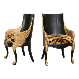 French Empire Armchairs Upholstered in Clarence House Tiger Velvet - a Pair For Sale