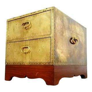 Mid Century Sarreid Brass Trunk For Sale