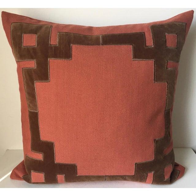 Linen & Velvet Accent Pillow-Feather Insert For Sale - Image 9 of 10