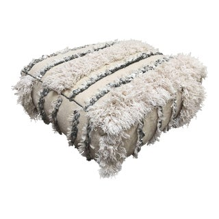 Moroccan Wedding Floor Pillow Pouf With Silver Sequins and Long Fringes For Sale