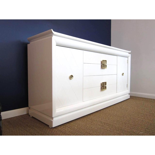White Lacquer Chinoiserie Credenza - Image 8 of 10