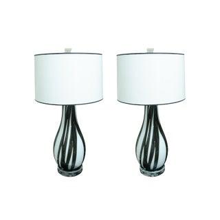 Pair of Italian Handblown Flask Shaped Lamps