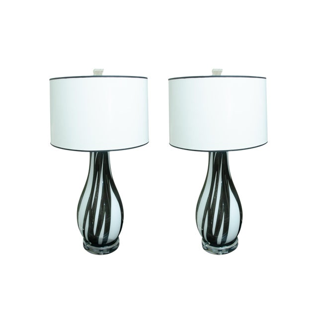 Pair of Italian Handblown Flask Shaped Lamps For Sale