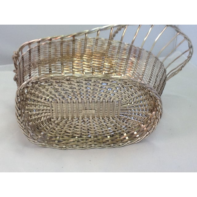 1970s Silver Plate Woven Wine Bottle Basket - Image 6 of 6