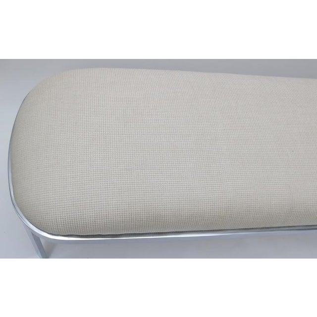 DIA - Design Institute America D.I.A. Polished Chrome and Cream Upholstery Race-Track Form Bench For Sale - Image 4 of 7