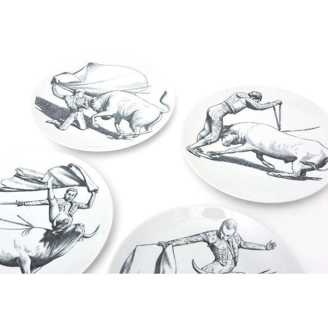 Italian Vintage Italian Piero Fornasetti Porcelain Bullfight Dinner Plates - Set of 6 For Sale - Image 3 of 11