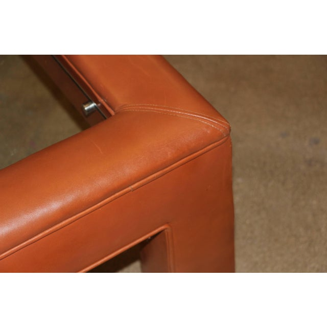 Leather Wrapped Coffee Table With Glass Insert For Sale - Image 9 of 10