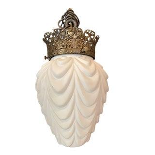 Vintage Small Italian Opaline Glass Drape Pendant For Sale