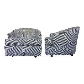 Vintage Black & White Geometric Striped Swivel Club Chairs - A Pair