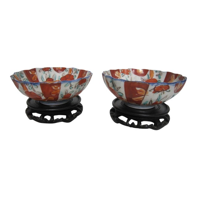 Vintage Japanese Bowls With Stands - Pair For Sale