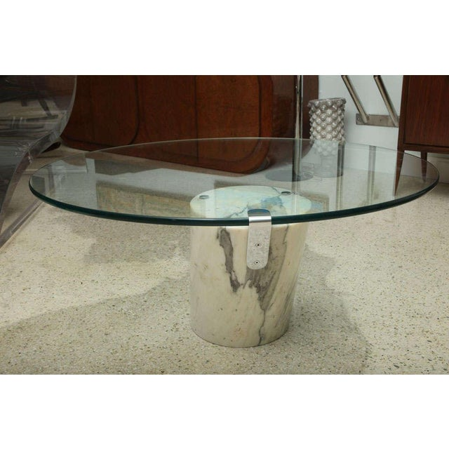 Marble and Glass Low Table Possibly by Brueton For Sale - Image 4 of 9