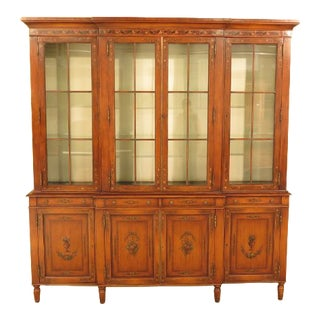 Theodore Alexander Adam Paint Decorated Breakfront Bookcase