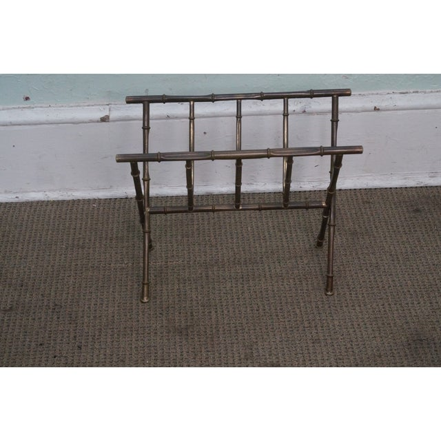 Hollywood Regency Faux Bamboo Brass Magazine Stand - Image 3 of 10