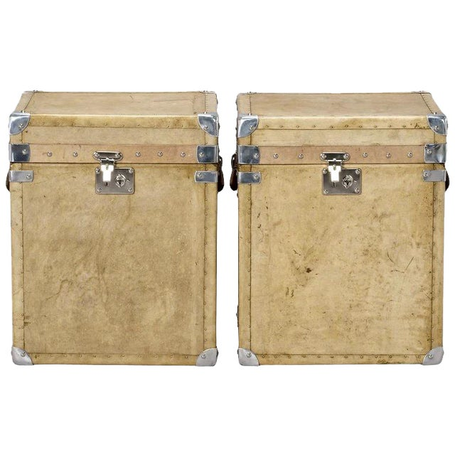 Pair of Reconditioned English Vellum and Chrome Trunks - Image 1 of 9