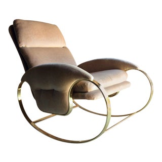 Hollywood Regency Armchair Rocking Chair Guido Faleschini, Italian, 1970 For Sale