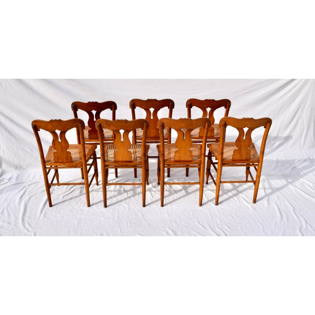 Antique Caned Federal Dining Chairs, Set of Eight For Sale - Image 9 of 10