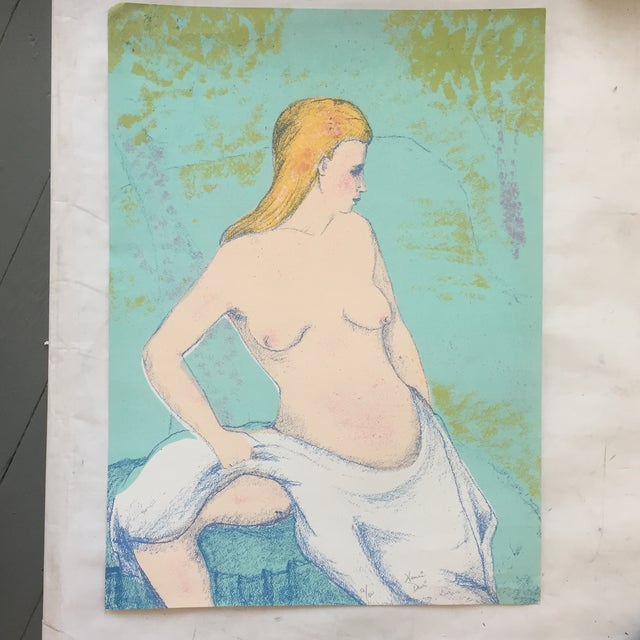 Vintage Female Nude Original Lithograph For Sale - Image 5 of 5