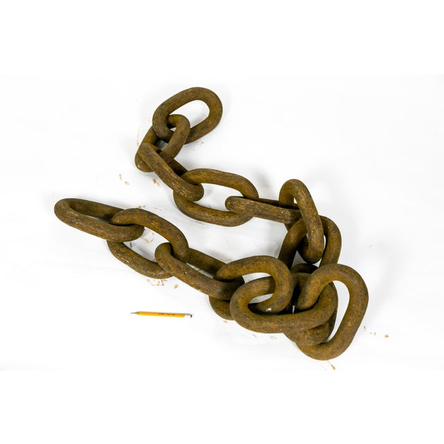 Industrial Gigantic Sculptural Antique Iron Chain For Sale - Image 3 of 9