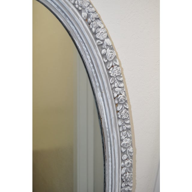 1950's Vintage French Linen Chalk Paint Mirror - Image 5 of 6