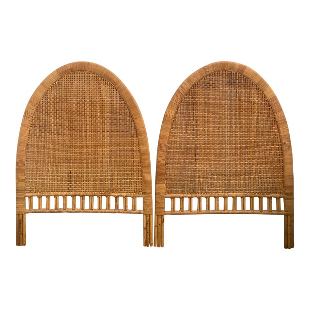 Vintage Mid-Century Arched Cane Bamboo Rattan Buri Twin Headboards - a Pair For Sale