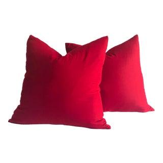 """24"""" Scarlet Red Velvet Pillows - a Pair"""