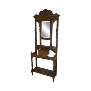 Antique Victorian Oak Mirror Back Hall Tree For Sale