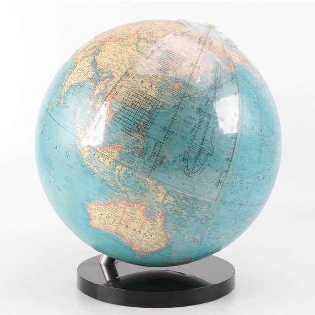 Large Vintage globe by National Geographics with lucite base and optional floor stand that breaks down into two pieces for...