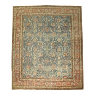 19th Century Denim Blue Tabriz Rug, 9'9'' x 12'7'' For Sale