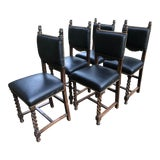 Image of 19th Century Carved Mahogany Jacobean Dining Side Chairs- Set of 5 For Sale