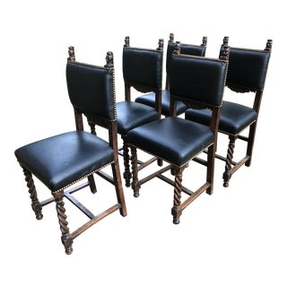 19th Century Carved Mahogany Jacobean Dining Side Chairs- Set of 5 For Sale