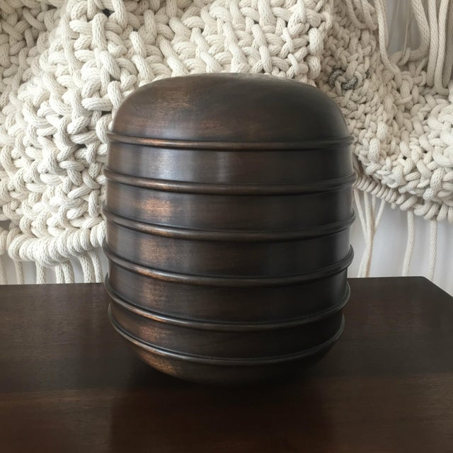 2010s Ebonized Turned Cherry Wood 'Beaded' Vessel No. 4 For Sale - Image 5 of 5
