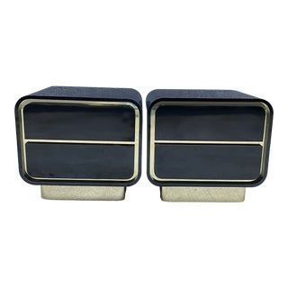 Postmodern Space Age Black & Gold Laminated Nightstands For Sale
