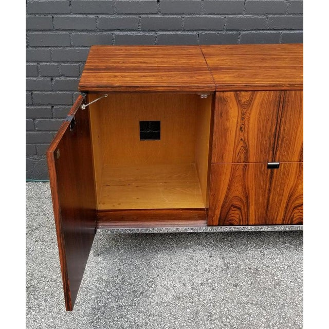 Brown Custom Bookmatched Brazilian Rosewood Florence Knoll Media Cabinet For Sale - Image 8 of 13