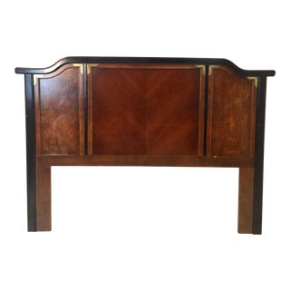 VintageChinoiserie Broyhill Ming Dynasty Premier Burl Wood Pagoda Queen Headboard For Sale