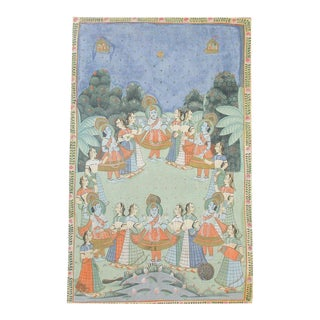 Antique Krishna and Gopi Pichhavai Painting For Sale
