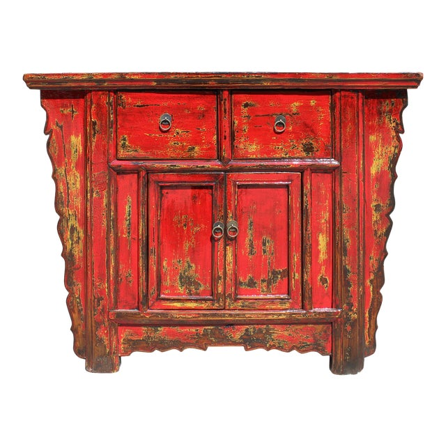 Chinese Rustic Rough Wood Distressed Red Side Table Cabinet For Sale