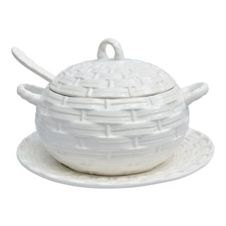 White Portuguese Basketweave Pattern Soup Tureen, Saucer, and Ladle For Sale