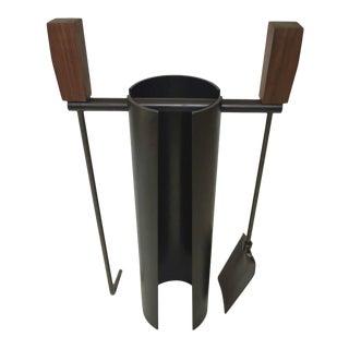 Contemporary Minimalist Blackened Steel or Walnut Fire Tools Set by Scott Gordon For Sale