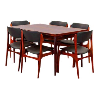 Erik Buck Rosewood Extension Dining Table & Chairs - Set of 7 For Sale