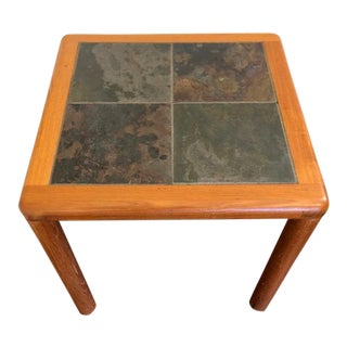Mid-Century Danish Modern Teak and Slate Accent Table For Sale
