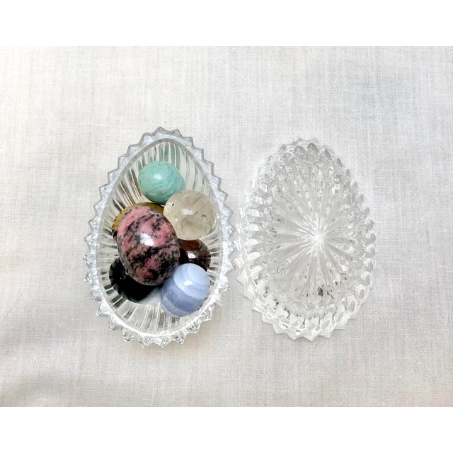 Traditional Crystal Egg with Gemstone Eggs, Vintage For Sale - Image 3 of 11
