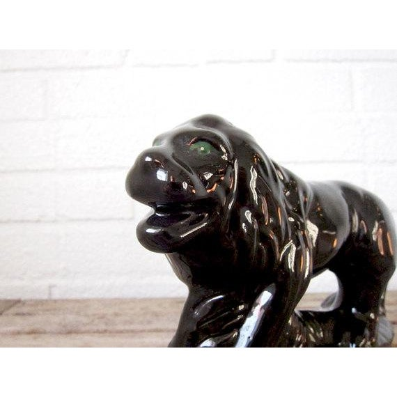 Vintage Black Ceramic Lion Figure - Image 4 of 6