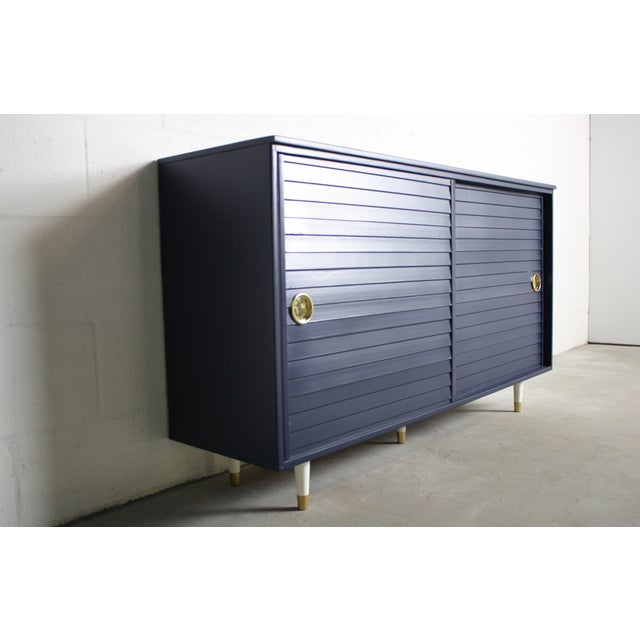 1960's Navy Cabinet W/ White & Gold Tapered Legs - Image 6 of 11