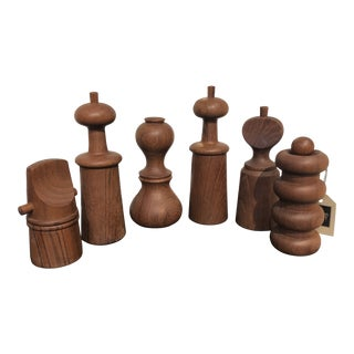 Mid-Century Modern Danish Salt and Pepper Shakers - Set of 6 For Sale