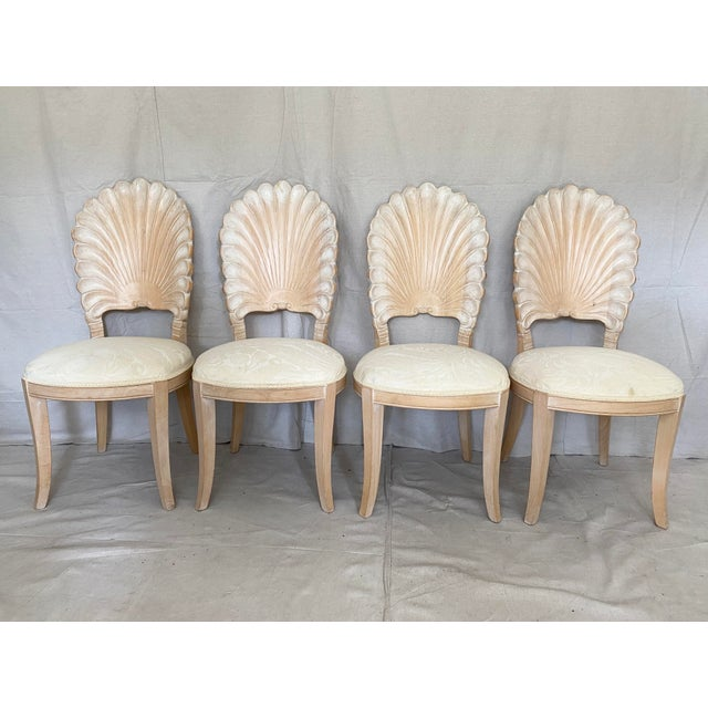 Boho Chic Vintage Carved Back Shell Chairs- Set of 6 For Sale - Image 3 of 13